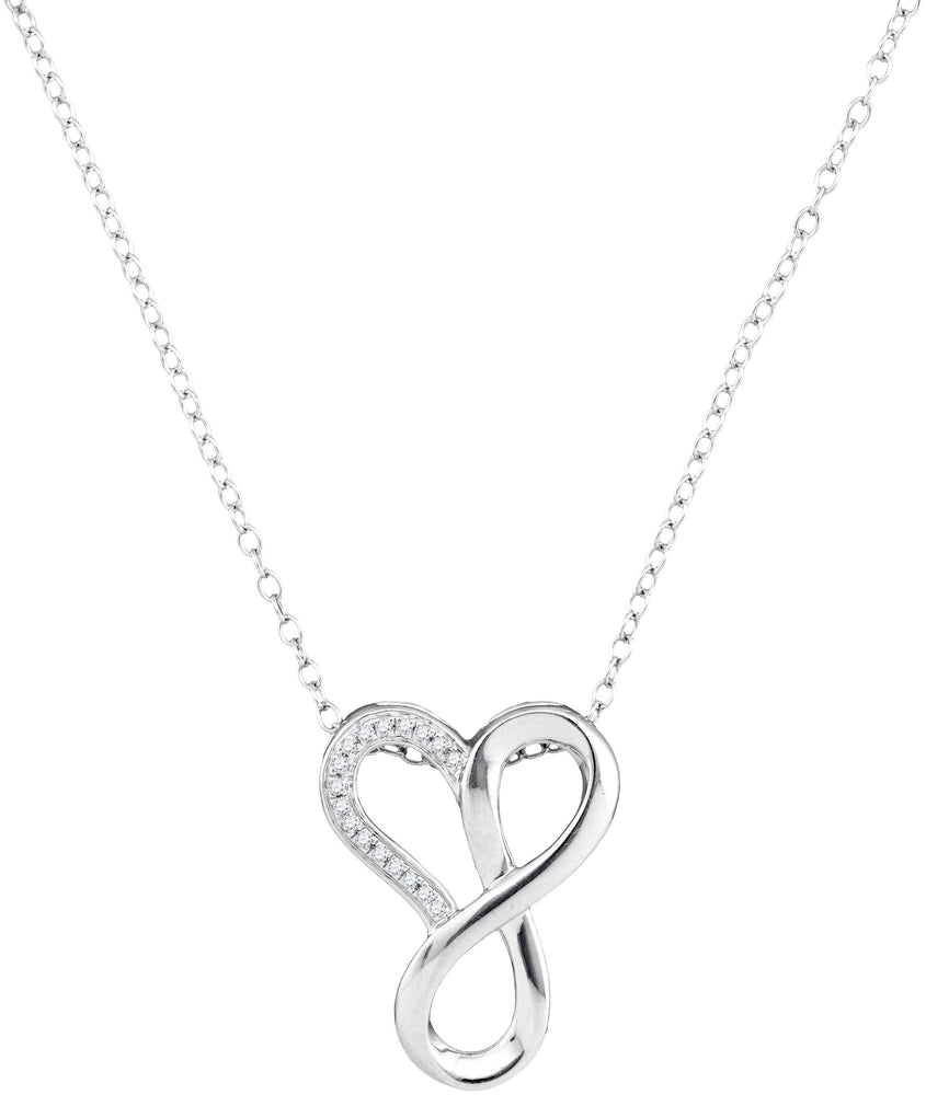 10kt White Gold Womens Round Diamond Heart Infinity Pendant Necklace 1/20 Cttw