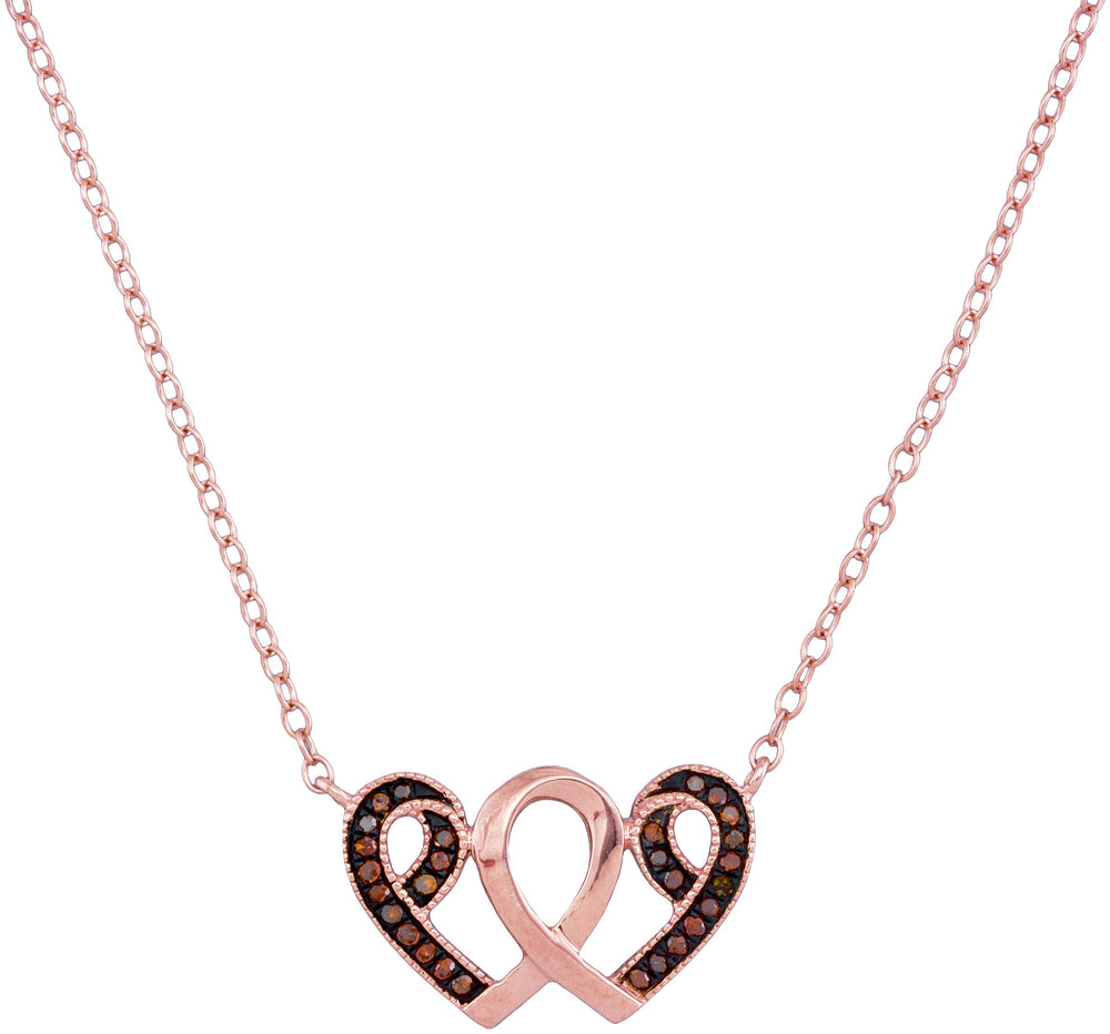 10kt Rose Gold Womens Red Diamond Heart Awareness Ribbon Pendant Necklace 1/10 Ct