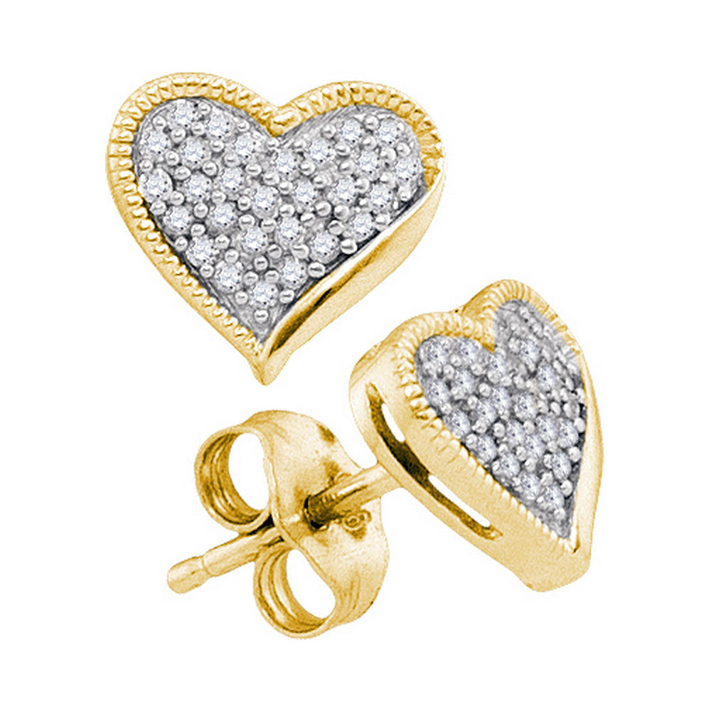 10kt Yellow Gold Womens Round Diamond Heart Love Earrings 1/5 Cttw