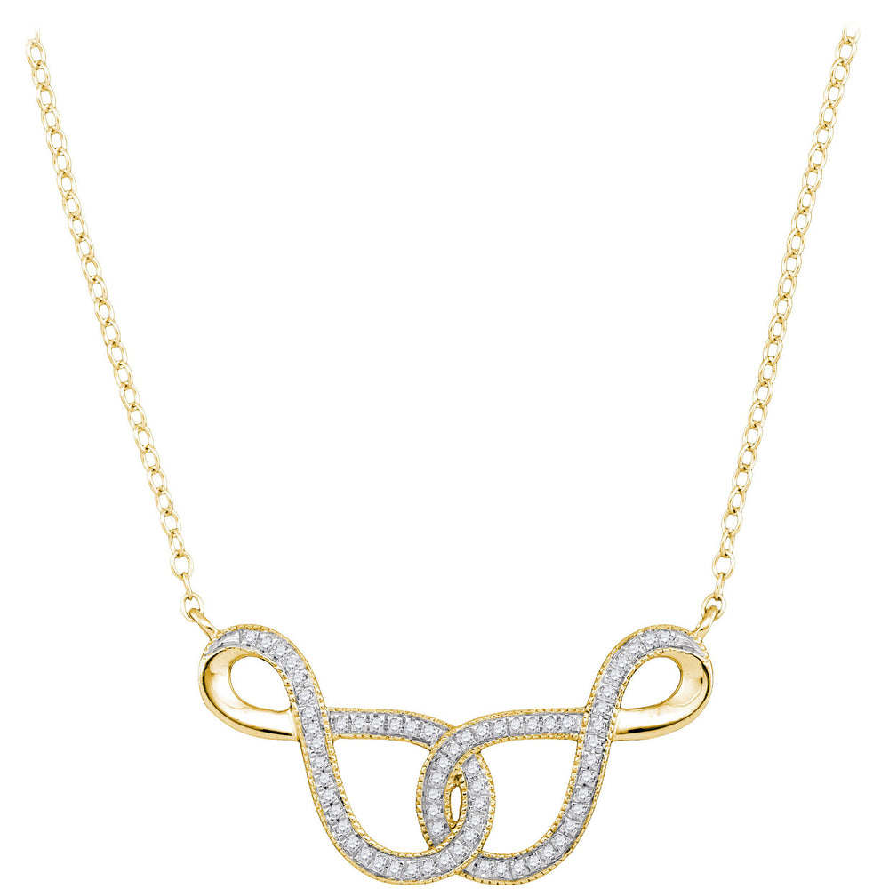 10kt Yellow Gold Womens Round Diamond Infinity Pendant Necklace 1/6 Cttw