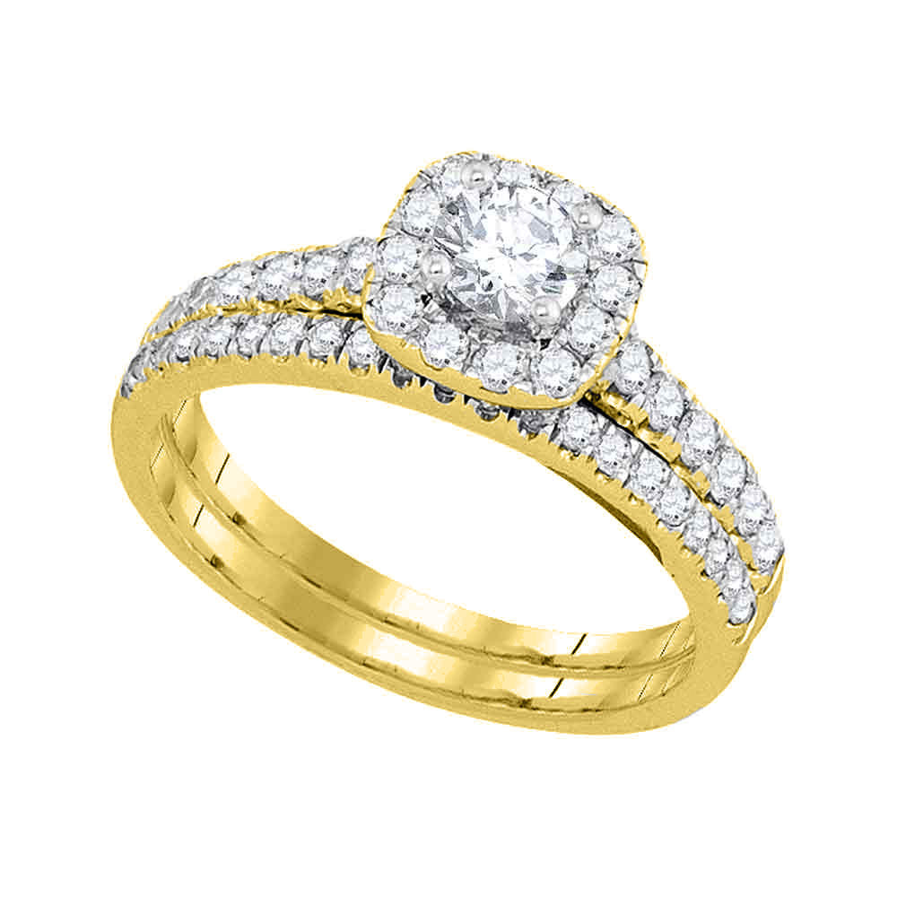 14kt Yellow Gold Womens Round Diamond Halo Bridal Wedding Engagement Ring Band Set 1.00 Cttw