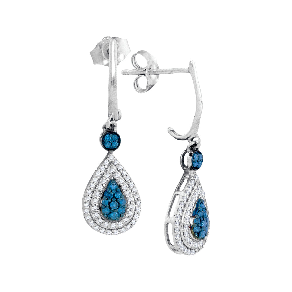 10kt White Gold Womens Round Blue Color Enhanced Diamond Teardrop Dangle Earrings 1/2 Cttw