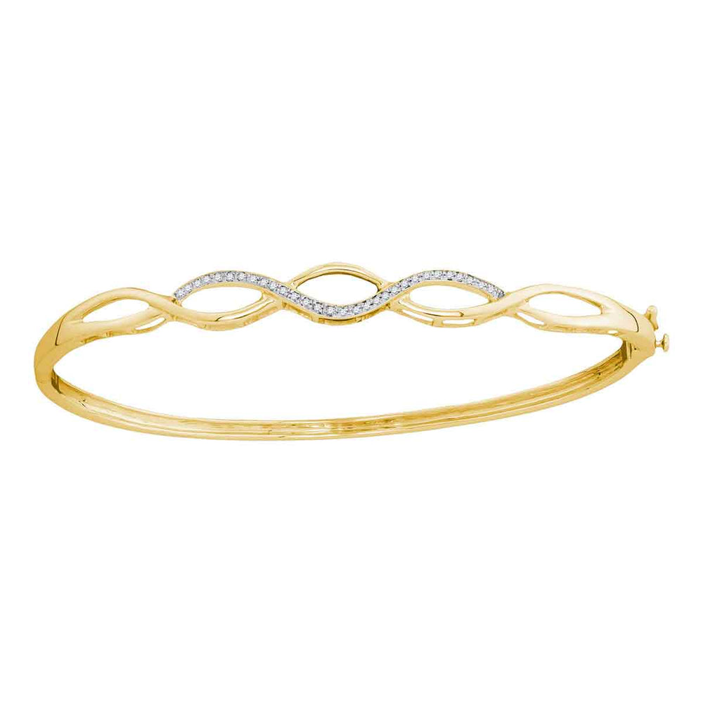 10kt Yellow Gold Womens Round Diamond Woven Strand Bangle Bracelet 1/8 Cttw