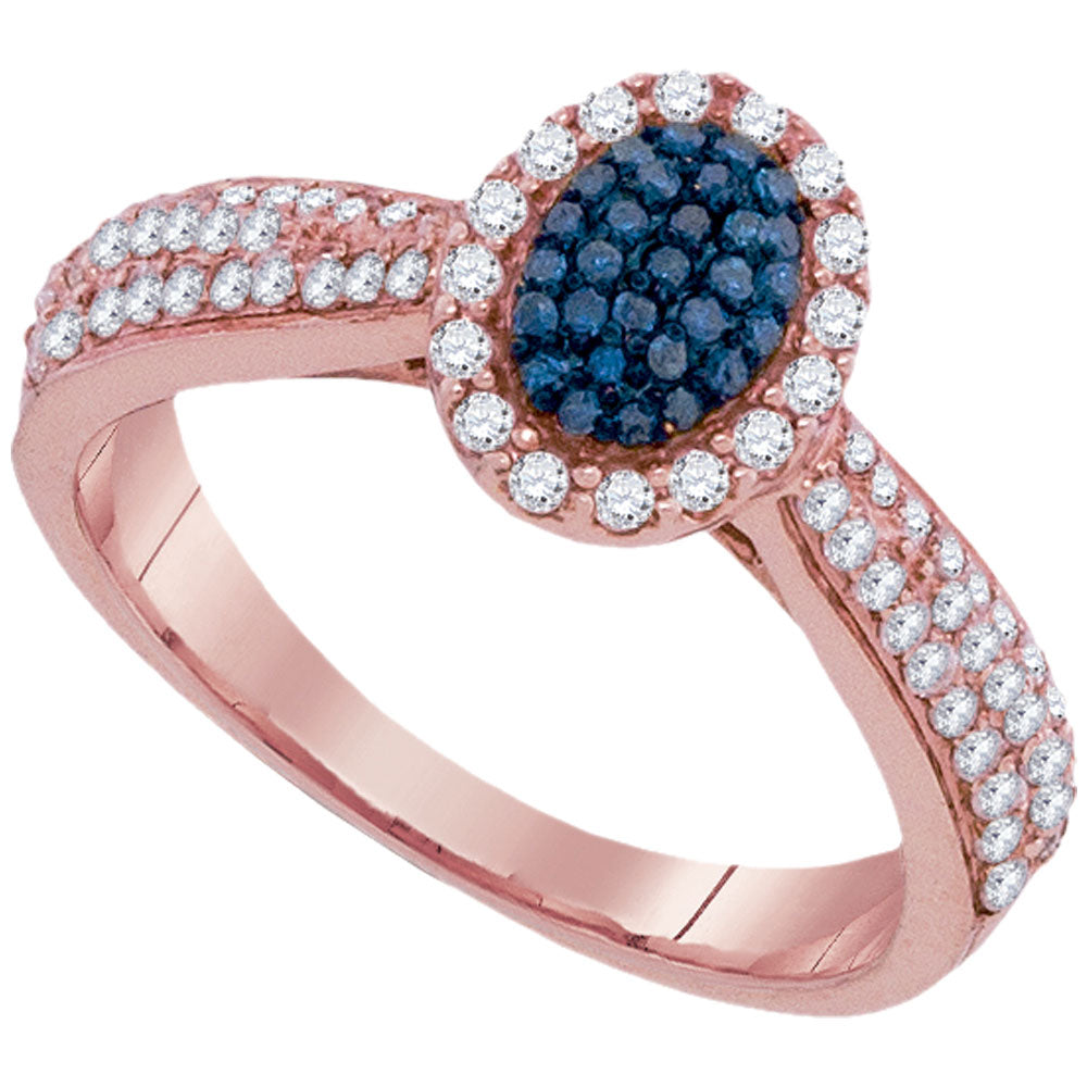10kt Rose Gold Womens Round Blue Color Enhanced Diamond Oval Frame Cluster Ring 1/2 Cttw