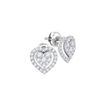 14kt White Gold Womens Round Diamond Heart Frame Cluster Stud Earrings 5/8 Cttw