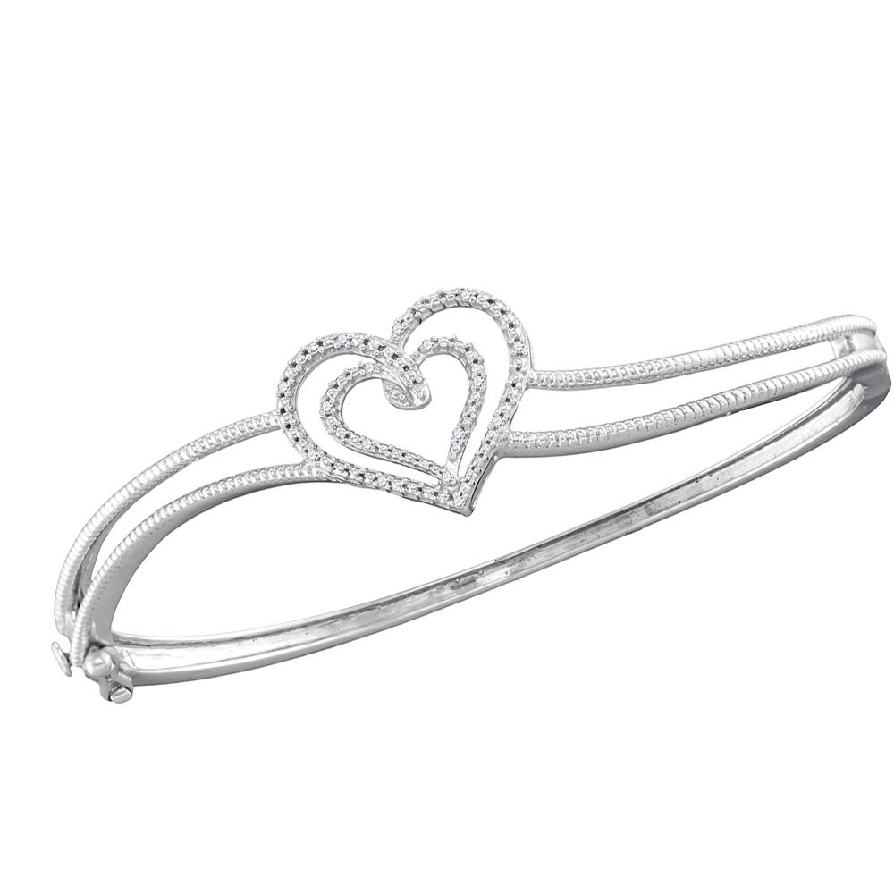 Sterling Silver Womens Round Diamond Double Heart Bangle Bracelet 1/20 Cttw