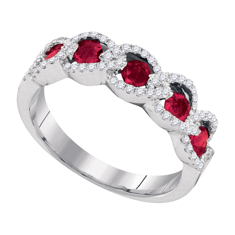 14kt White Gold Womens Round Ruby Diamond Outline Band 3/4 Cttw