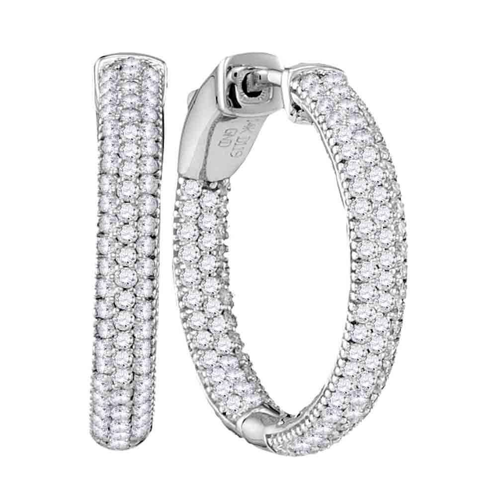 14kt White Gold Womens Round Pave-set Diamond Hoop Earrings 1-1/5 Cttw
