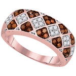 10kt Rose Gold Womens Round Red Color Enhanced Diamond Checkered Band 1/2 Cttw