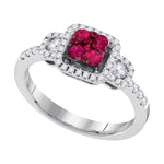 14kt White Gold Womens Round Natural Ruby Cluster Fashion Ring 5/8 Cttw