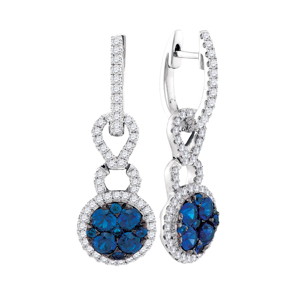 14kt White Gold Womens Round Blue Sapphire Cluster Diamond Frame Dangle Earrings 5/8 Cttw