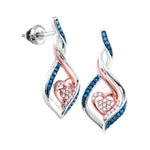 10kt White Gold Womens Round Blue Color Enhanced Diamond Rose-tone Heart Earrings 1/6 Cttw