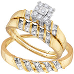 Sterling Silver Diamond Yellow-tone His & Hers Matching Trio Wedding Engagement Ring Set 1/7 Cttw