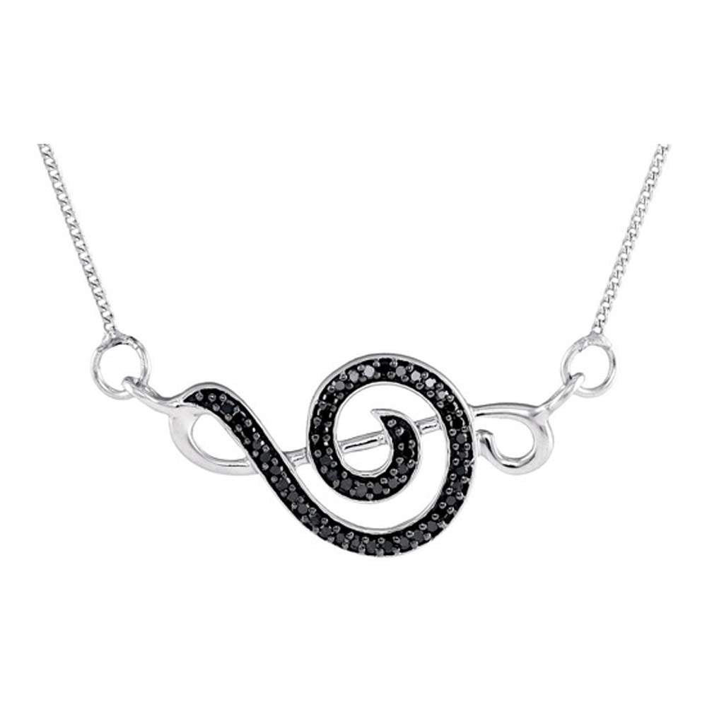 Sterling Silver Womens Round Black Color Enhanced Diamond Treble Clef Fashion Pendant Necklace 1/8 Cttw