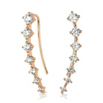 Unique Womens Cuff Earrings Rose Gold Plated 0.75 CT Wedding Accessories