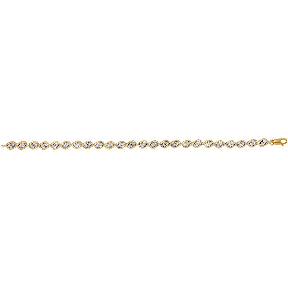 10kt Yellow Gold Womens Round Diamond Illusion-set Tennis Bracelet 1/5 Cttw
