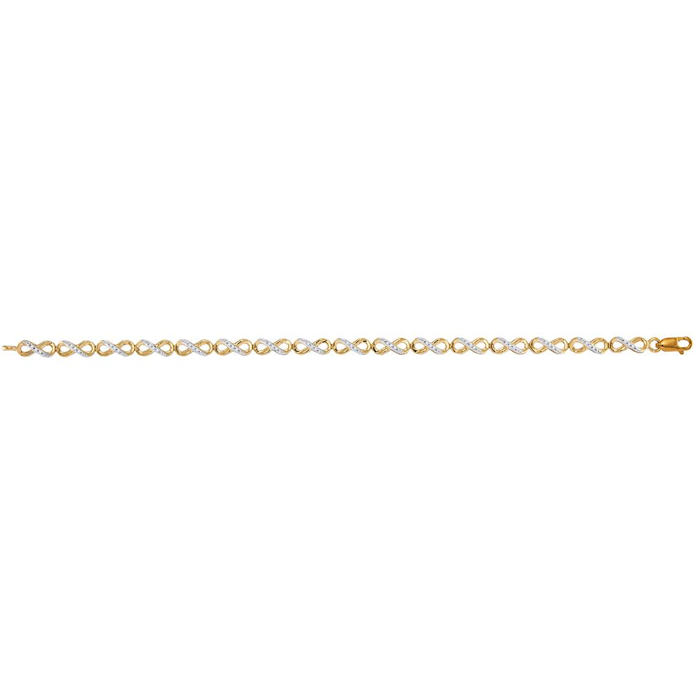 10kt Yellow Gold Womens Round Diamond Infinity Tennis Bracelet 1/4 Cttw