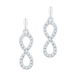 10kt White Gold Womens Round Diamond Infinity Dangle Earrings 1/4 Cttw