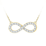10kt Yellow Gold Womens Round Diamond Infinity Pendant Necklace 1/5 Cttw