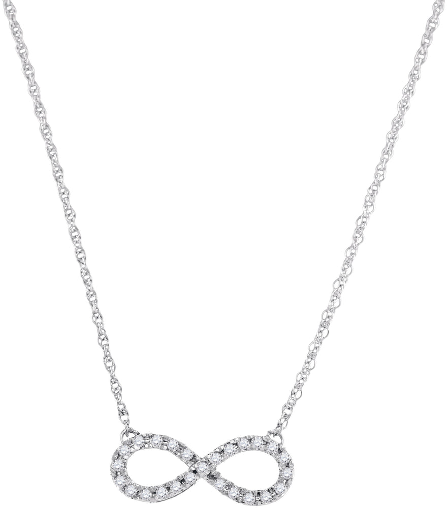 10kt White Gold Womens Round Diamond Infinity Pendant Necklace 1/5 Cttw