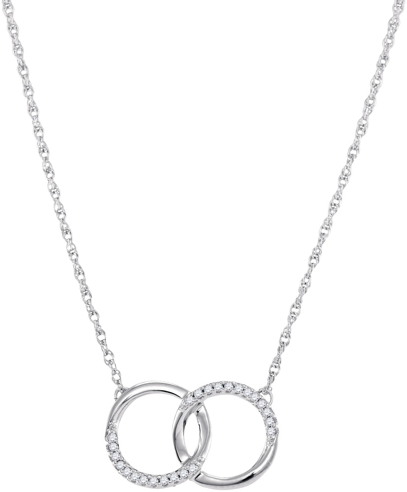 10kt White Gold Womens Round Diamond Interlocking Double Circle Pendant Necklace 1/10 Cttw