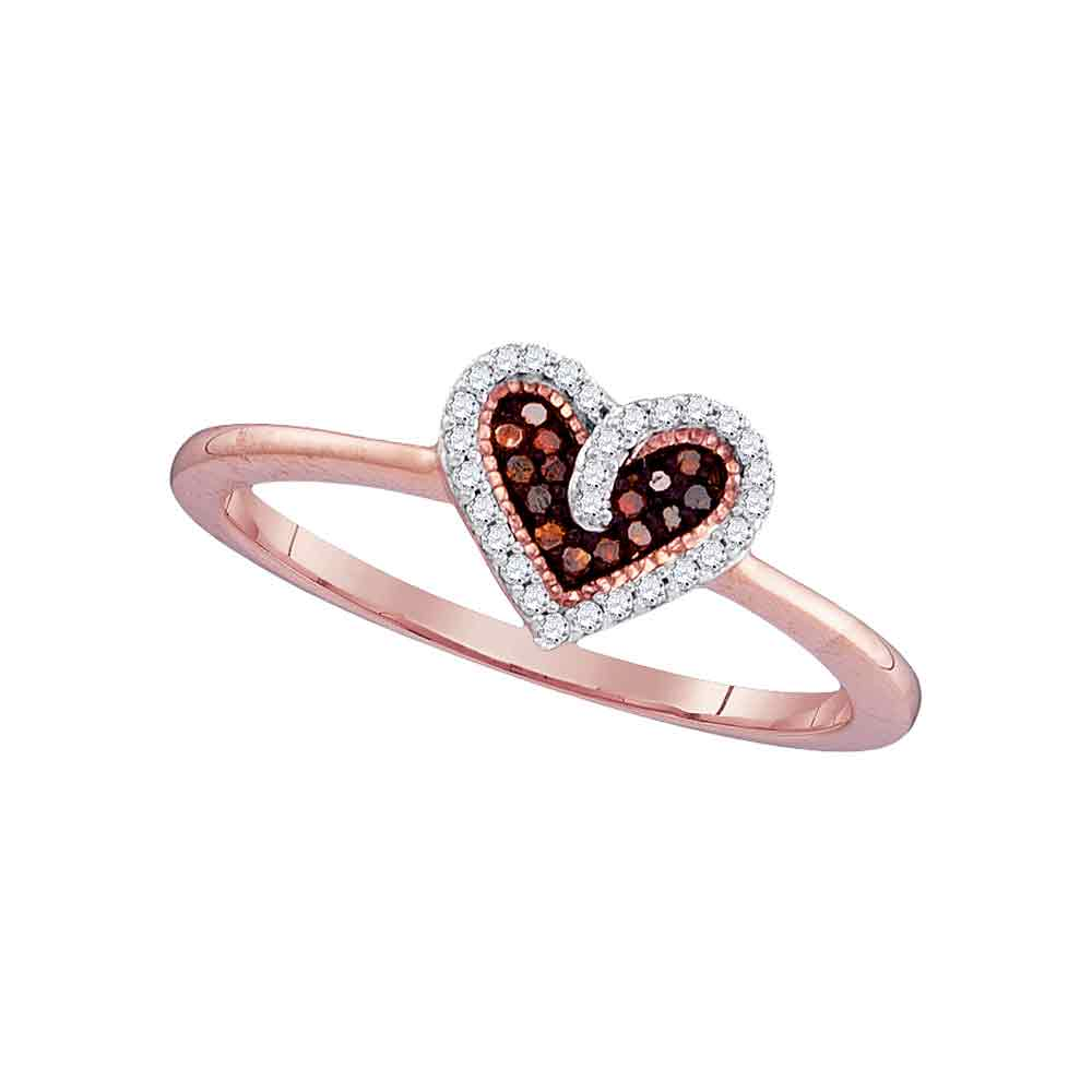 10kt Rose Gold Womens Round Red Color Enhanced Diamond Small Heart Ring 1/10 Cttw