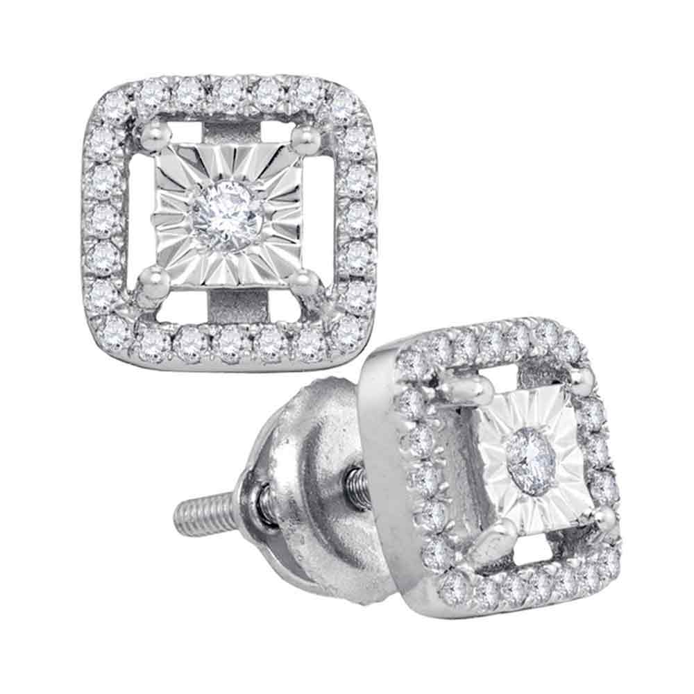Sterling Silver Womens Round Diamond Miracle Solitaire Square Stud Earrings 1/4 Cttw