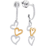 10kt Two-tone White Gold Womens Round Diamond Dangling Triple Heart Earrings 1/4 Cttw