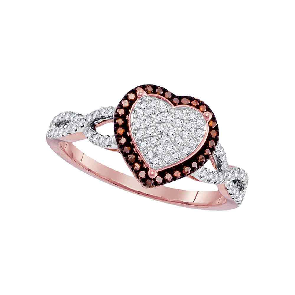 10kt Rose Gold Womens Round Red Color Enhanced Diamond Heart Cluster Ring 1/6 Cttw