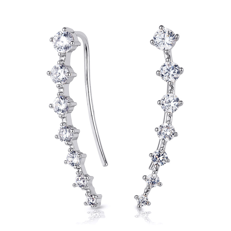 Stunning Womens Cuff Earrings White Gold Plated 0.75 CT