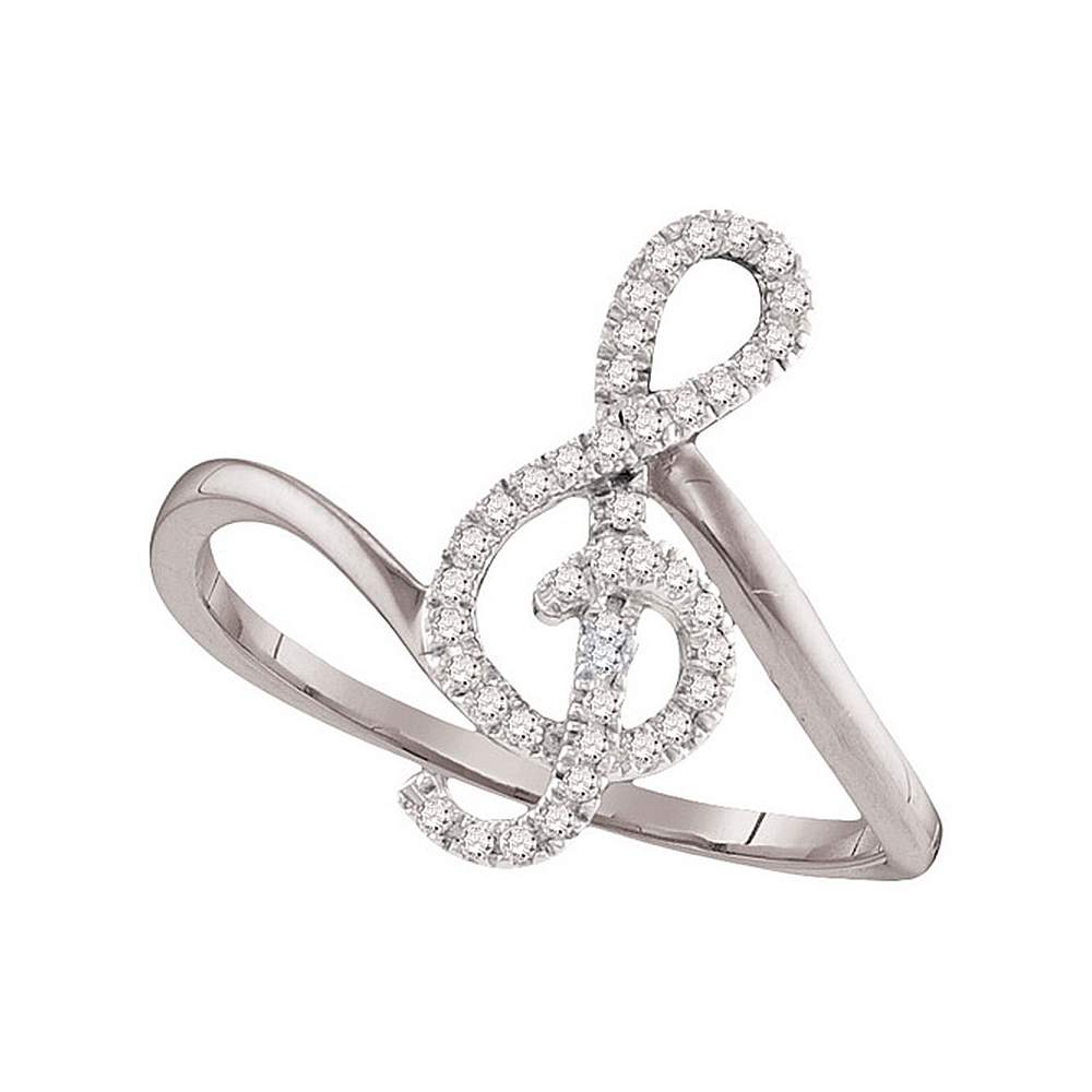 10k White Gold Round Diamond Treble Clef Music Note Womens Classic Ring 1/6 Cttw