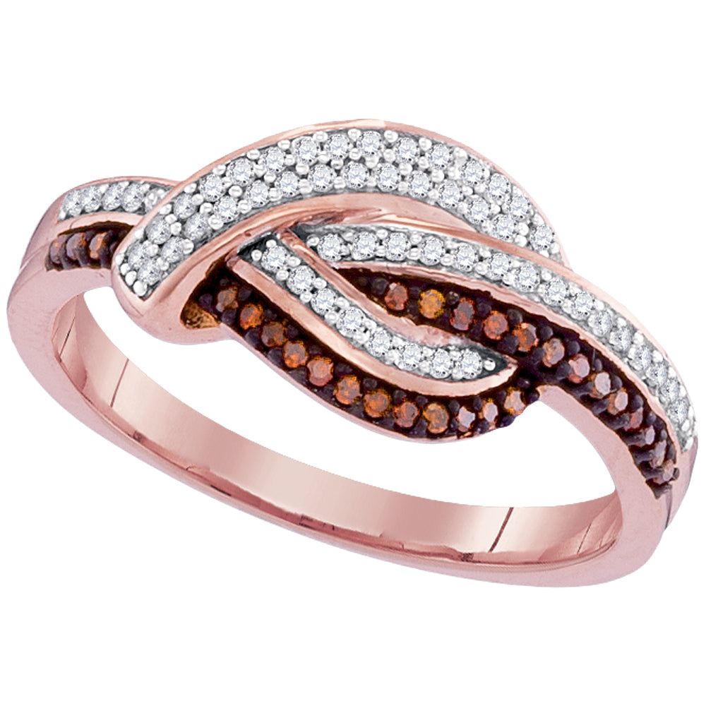 10kt Rose Gold Womens Round Red Color Enhanced Diamond Knot Fashion Ring 1/4 Cttw