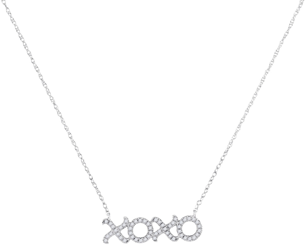 10kt White Gold Womens Round Diamond XOXO Hugs Kisses Letter Pendant Necklace 1/6 Cttw