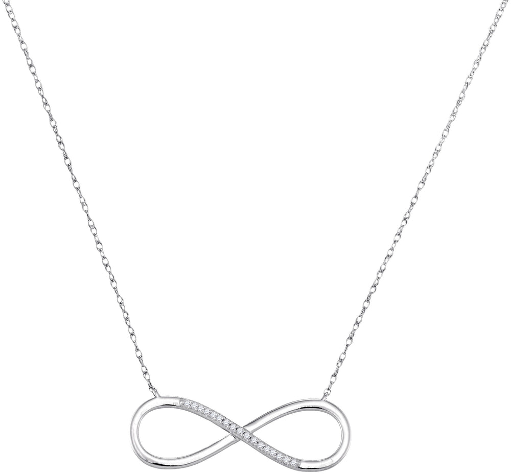 10kt White Gold Womens Round Diamond Infinity Pendant Necklace 1/20 Cttw