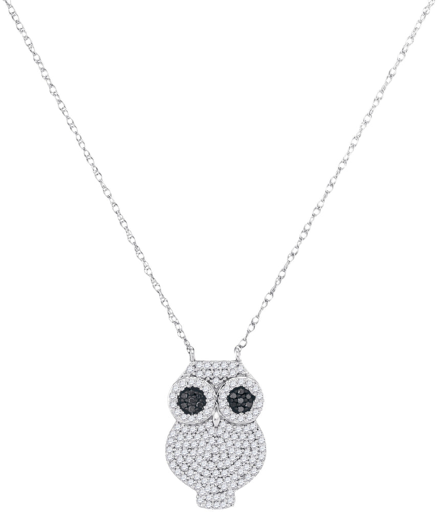 10kt White Gold Womens Round Black Color Enhanced Diamond Owl Bird Pendant Necklace 3/8 Cttw