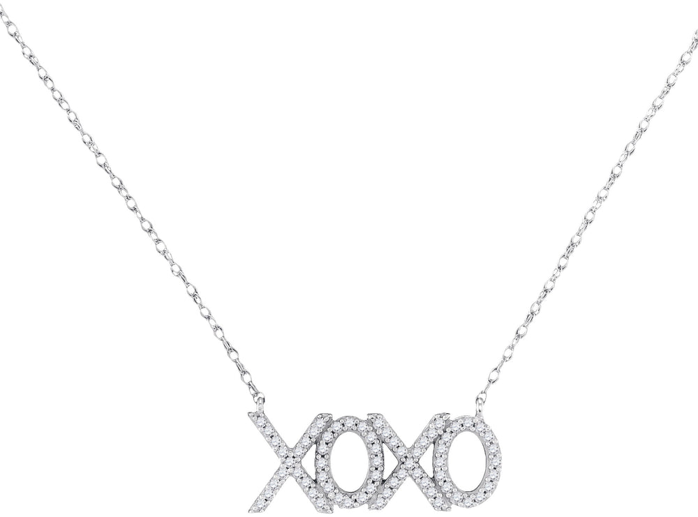 10kt White Gold Womens Round Diamond XOXO Hugs Kisses Letter Pendant Necklace 1/5 Cttw