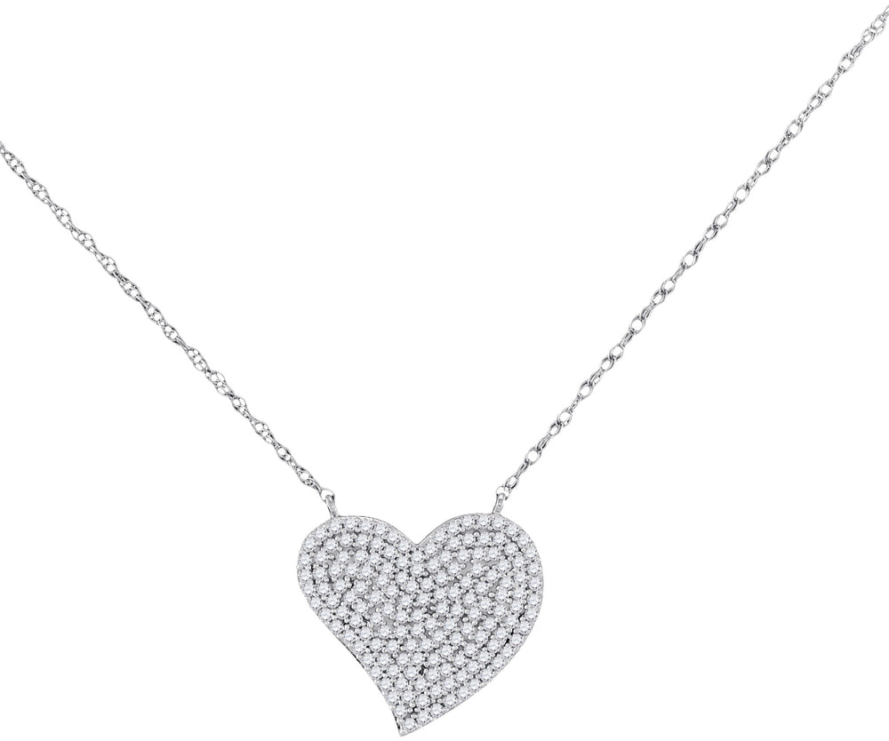 10kt White Gold Womens Round Diamond Heart Cluster Pendant Necklace 1/3 Cttw