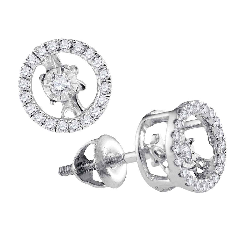 10kt White Gold Womens Round Diamond Moving Twinkle Solitaire Stud Screwback Earrings 1/5 Cttw