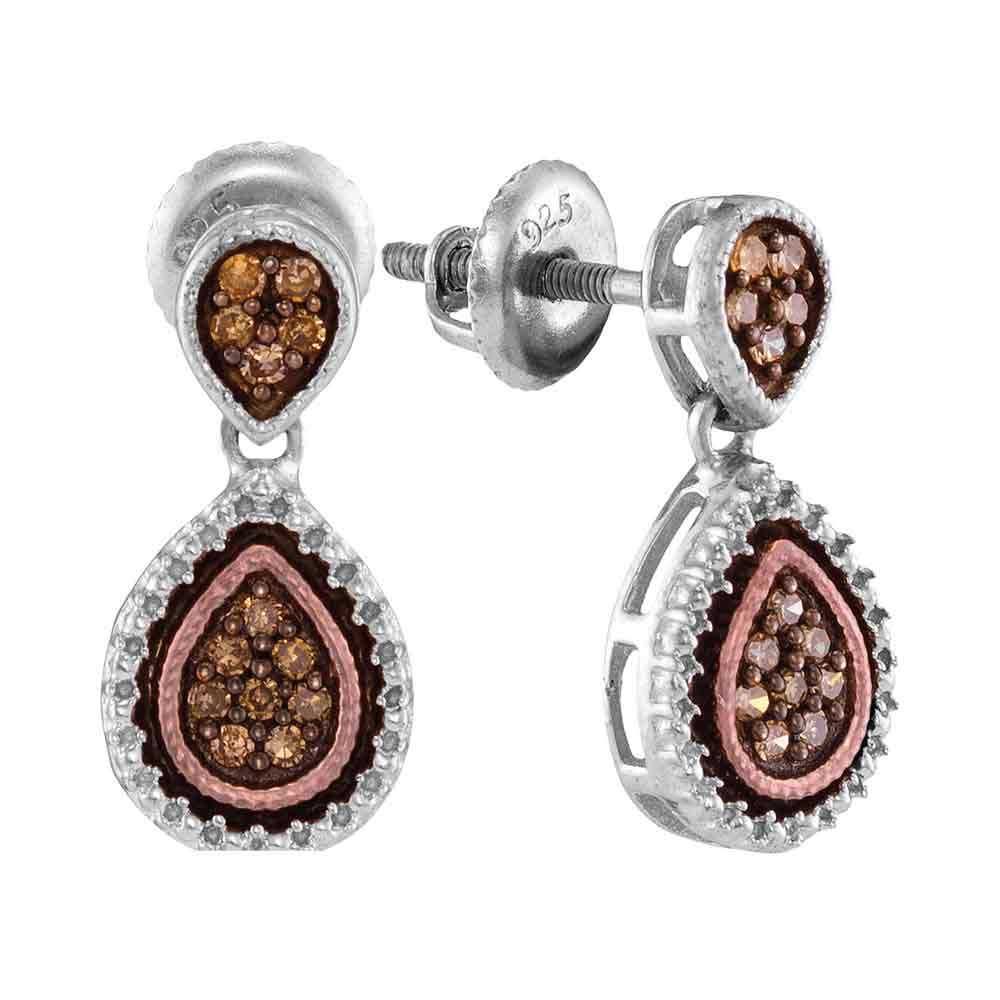 Sterling Silver Womens Round Brown Color Enhanced Diamond Teardrop Dangle Earrings 1/5 Cttw