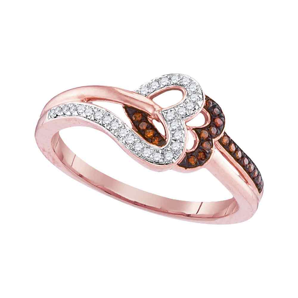 10kt Rose Gold Womens Round Red Color Enhanced Diamond Heart Love Ring 1/6 Cttw