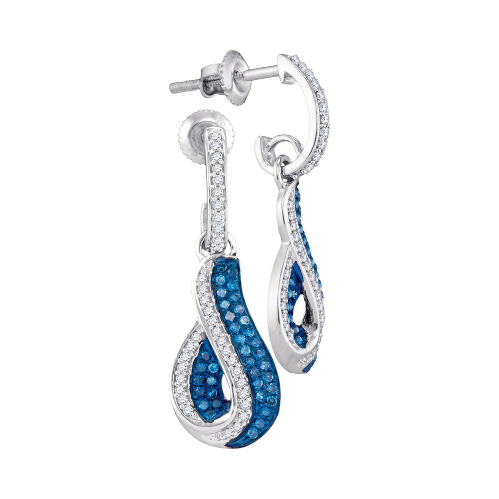 10kt White Gold Womens Round Blue Color Enhanced Diamond Teardrop Dangle Earrings 3/8 Cttw