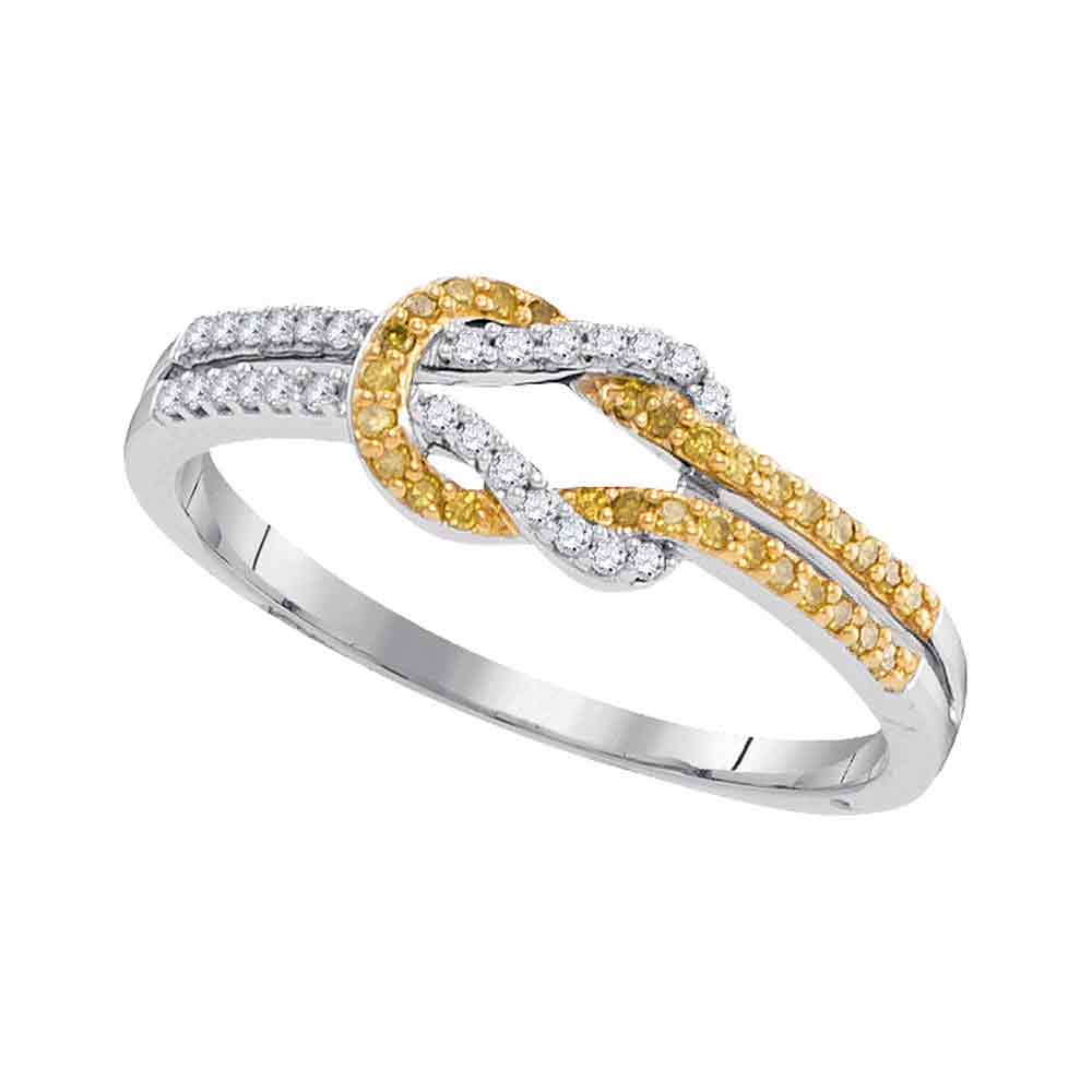 10k White Gold Womens Round Yellow Color Enhanced Diamond Knot Lasso Band Ring