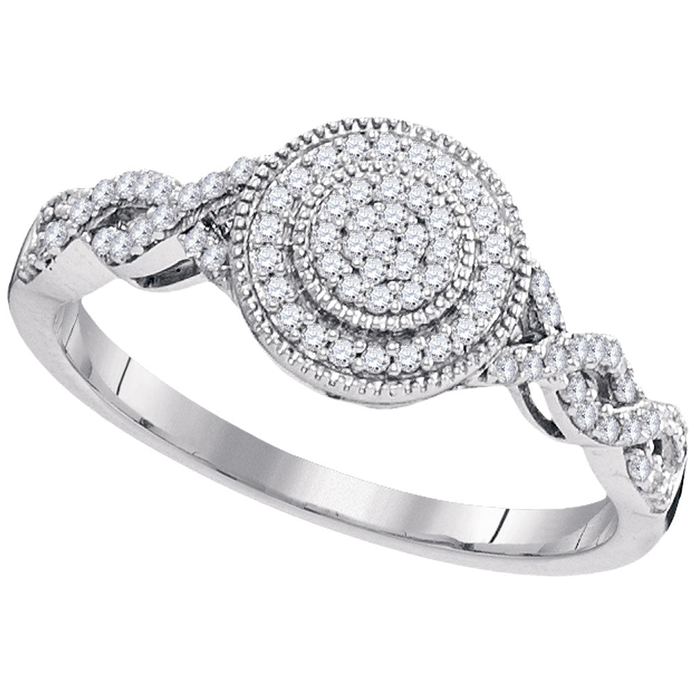 10kt White Gold Womens Round Diamond Concentric Milgrain Circle Cluster Ring 1/5 Cttw