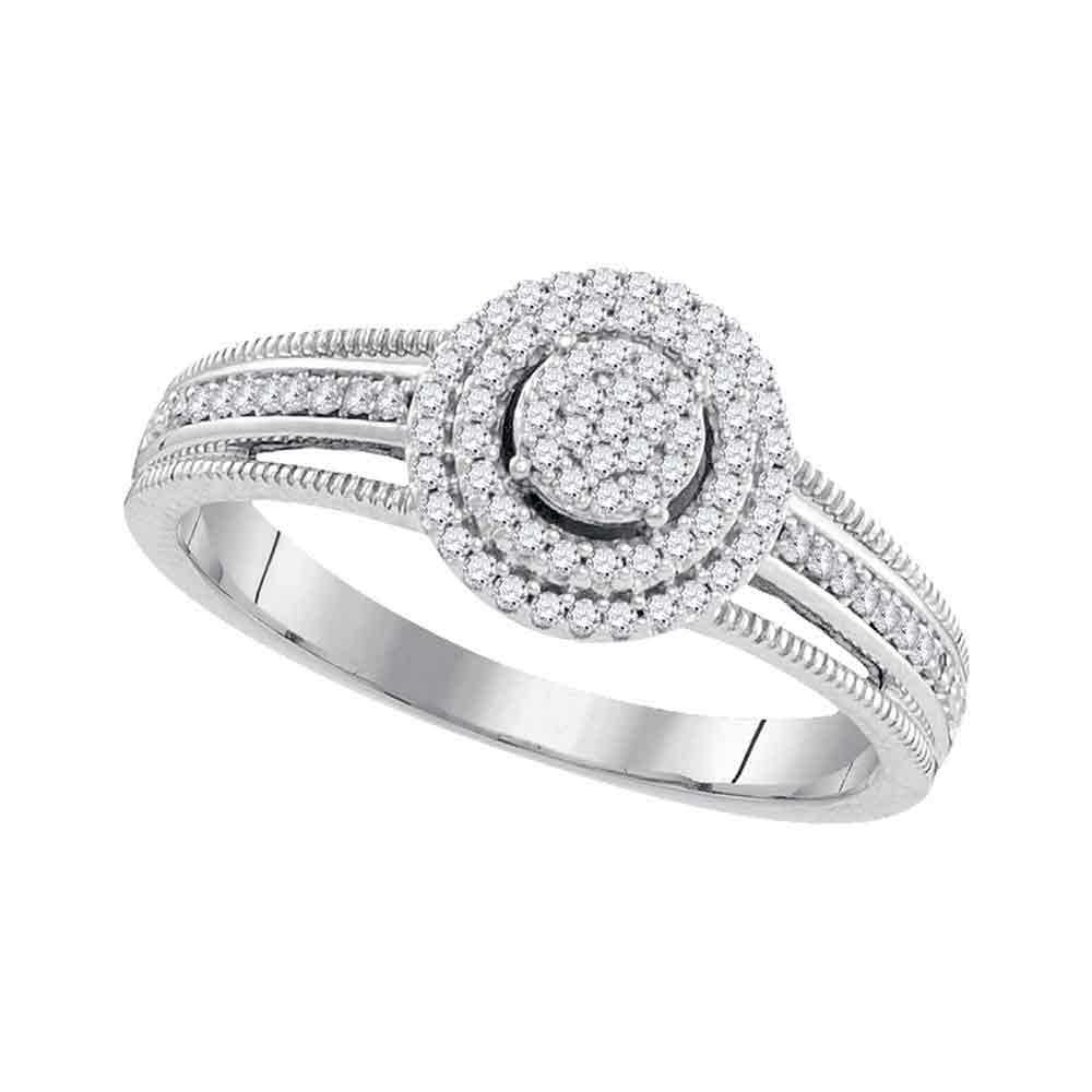 10kt White Gold Womens Diamond Concentric Cluster Bridal Wedding Engagement Ring 1/5 Cttw