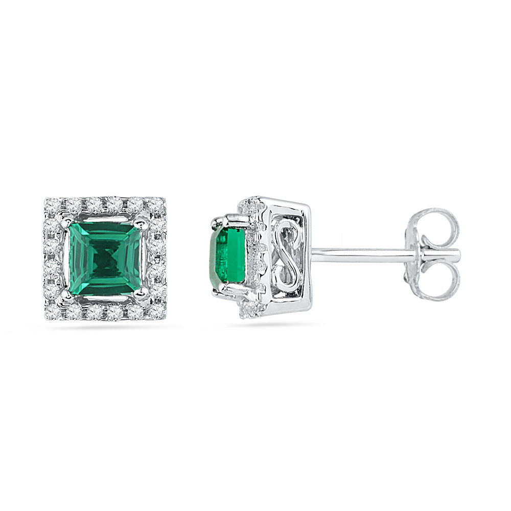 10kt White Gold Womens Princess Lab-Created Emerald Solitaire Diamond Stud Earrings 1/8 Cttw