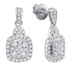 14kt White Gold Womens Princess Round Diamond Soleil Square Dangle Earrings 3/8 Cttw