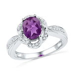 10kt White Gold Womens Oval Lab-Created Amethyst Solitaire Diamond-accent Ring 1-3/4 Cttw