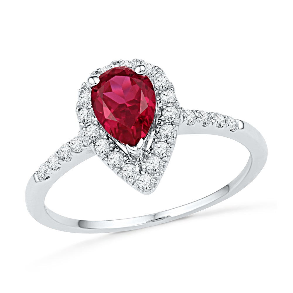 10kt White Gold Womens Pear Lab-Created Ruby Solitaire Diamond Frame  Ring 1-1/5 Cttw