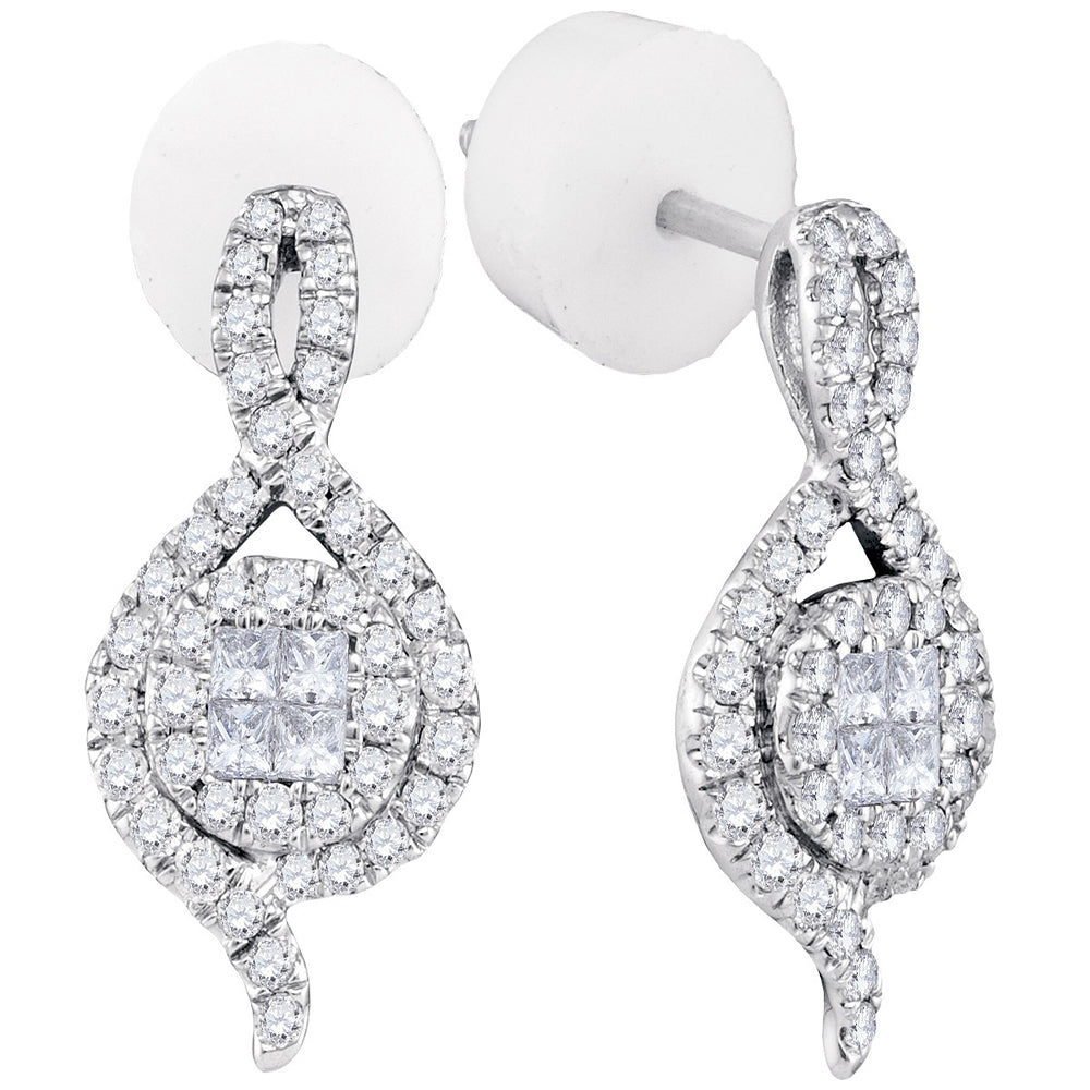 14kt White Gold Womens Princess Round Diamond Soleil Spade Cluster Earrings 1/2 Cttw
