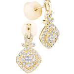 14kt Yellow Gold Womens Princess Diamond Soleil Square Frame Cluster Dangle Earrings 1/2 Cttw